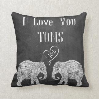 TE AMO arte/boda de TONS/Elephant personalizado Cojín