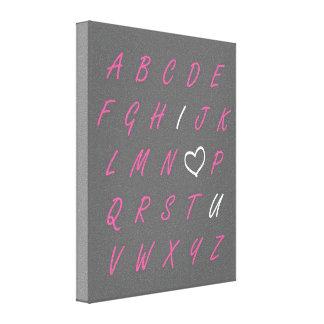 Te amo arte rosado de ABC y blanco gris de la pare Impresión En Lona