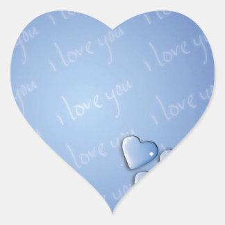 Te amo azul pegatina de corazón