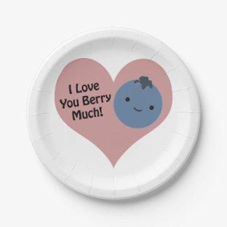 Te amo baya mucho arándano plato de papel de 7 pulgadas