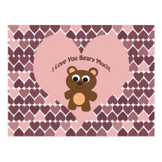 ¡Te amo Beary mucho! Fondo del corazón Tarjetas Postales
