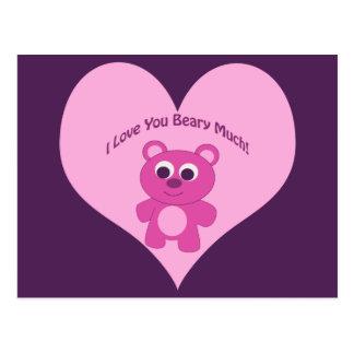 ¡Te amo Beary mucho! Oso rosado Postal
