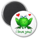 Te amo blanco verde lindo de la rana del dibujo an imán