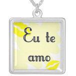 Te amo - brasilen@o del Eu Colgante Cuadrado