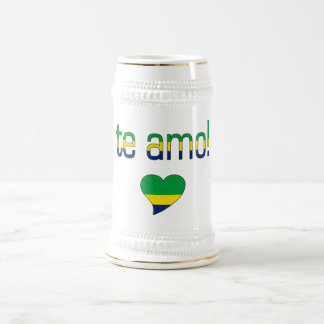 Te Amo! Brazil Flag Colors Beer Stein