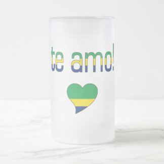 Te Amo! Brazil Flag Colors Frosted Glass Beer Mug