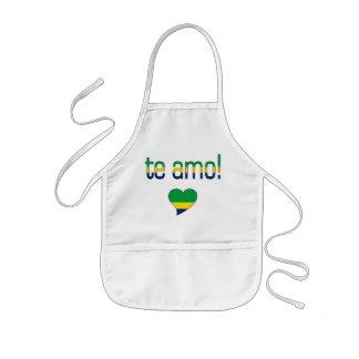 Te Amo! Brazil Flag Colors Kids' Apron