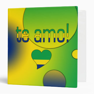 Te Amo! Brazil Flag Colors Pop Art 3 Ring Binder
