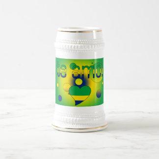 Te Amo! Brazil Flag Colors Pop Art Beer Stein