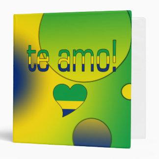 Te Amo! Brazil Flag Colors Pop Art Vinyl Binders