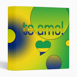 Te Amo! Brazil Flag Colors Pop Art Binder