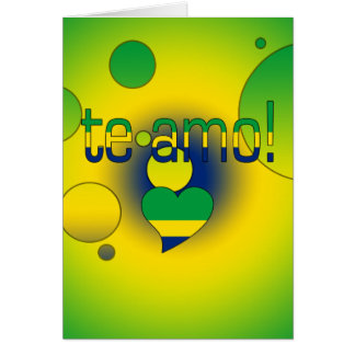 Te Amo! Brazil Flag Colors Pop Art Stationery Note Card