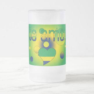 Te Amo! Brazil Flag Colors Pop Art Frosted Glass Beer Mug