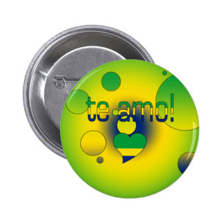 Te Amo! Brazil Flag Colors Pop Art Pinback Button