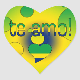 Te Amo! Brazil Flag Colors Pop Art Heart Sticker
