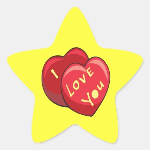 Te amo calcomanías forma de estrellaes