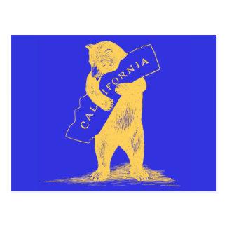Te amo California--Azul y oro Tarjeta Postal