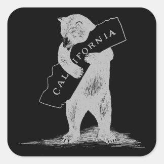 Te amo California--Negro y plata Pegatina Cuadradas Personalizada
