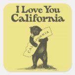 Te amo California Calcomania Cuadradas Personalizadas