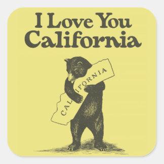 Te amo California Calcomanía Cuadradas Personalizadas