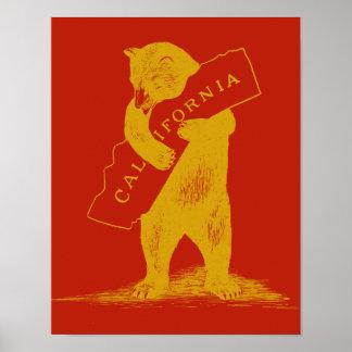 Te amo California--Rojo y oro Póster