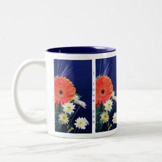 """Te amo/como del azul """"usted asalta en 5 idiomas tazas de café"""