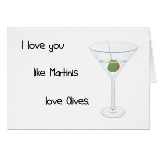 Te amo como tarjeta de las aceitunas del amor de l