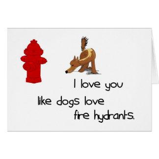 Te amo como tarjeta de las bocas de incendios del