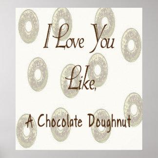 Te amo como un buñuelo del chocolate póster