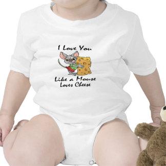 Te amo como un ratón ama negro del queso traje de bebé