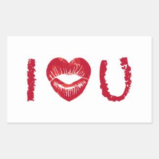Te amo con los labios rojos del corazón pegatina rectangular