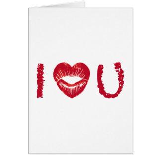 Te amo con los labios rojos del corazón tarjetón