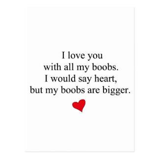 Te amo con todos mis Boobs Postales