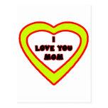 Te amo corazón amarillo de la MAMÁ el regalo de Postal