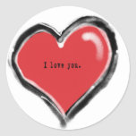 Te amo corazón de la pintada pegatina redonda
