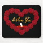 Te amo corazón del rosa rojo tapete de raton