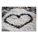 Te amo corazón en rocas tarjeton