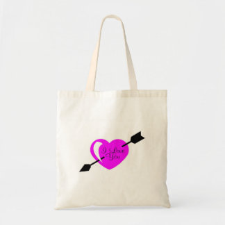 Te amo corazón negro rosado bolsa tela barata