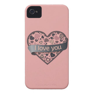 Te amo corazón oscuro del placer con la bandera de iPhone 4 Case-Mate carcasas