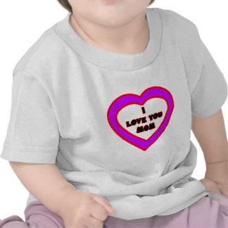 Te amo corazón purpúreo claro de la MAMÁ el MUSEO Camiseta