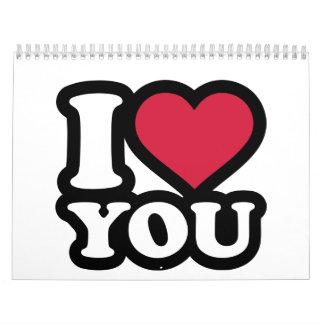 Te amo corazón rojo calendario