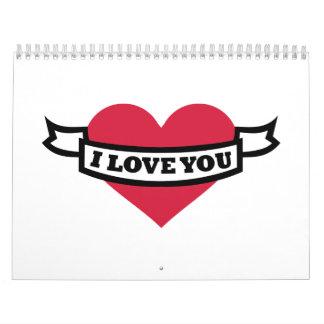 Te amo corazón rojo calendario de pared