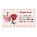 Te amo corazón tarjeta de negocio