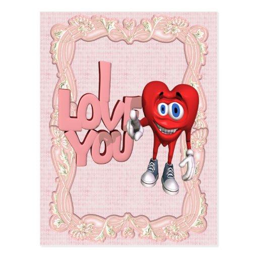 Te amo corazón tarjeta postal