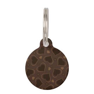 Te amo corazones del chocolate de Brown Placa Para Mascotas