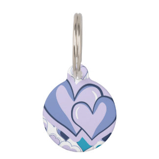 Te amo corazones púrpuras y azules identificador para mascota