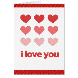 Te amo (corazones) tarjeta de felicitación