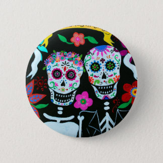 TE AMO COUPLE DAY OF THE DEAD PINBACK BUTTON