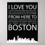 Te amo de aquí al poster de la tipografía de Bosto