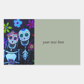 Te amo Dia de los Muertos Wedding Pegatina Rectangular